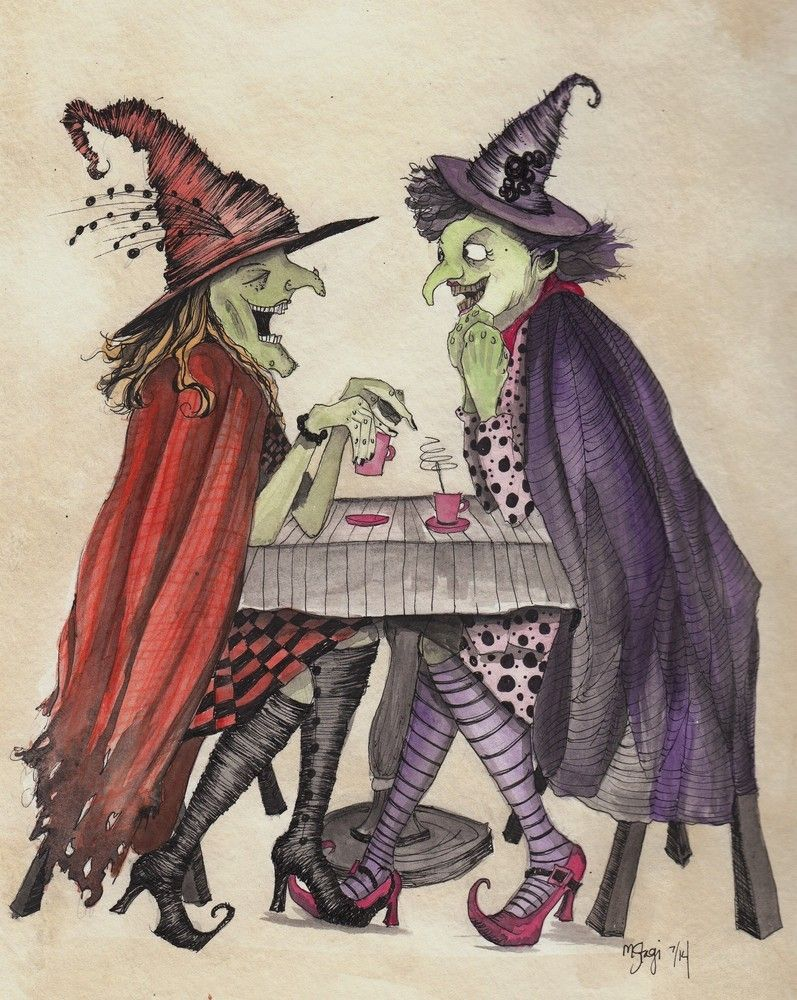 Cackling madly, sharing potions and slinging gossip - these two witches are having a wonderful time! This is an 8 x 10 original watercolor/ink portrait by Melissa. Comes in black matte frame. You can also visit us on www.facebook.com/StagiWorks to see our daily creativeness!