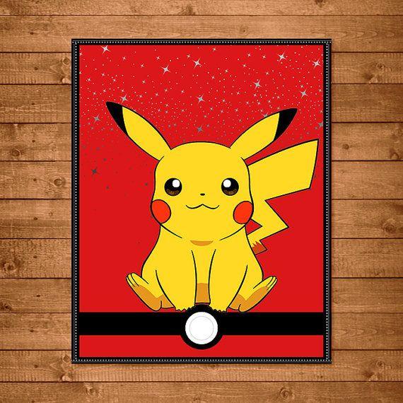 Pokemon Wall Art Red White Pikachu Wall By Ninelivesnotenough