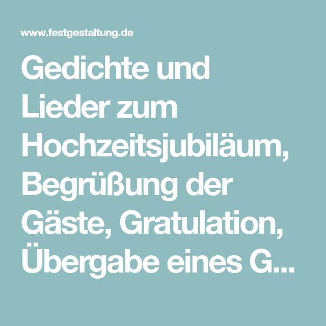 Gedichte Und Lieder Zum Hochzeitsjubiläum Begrüßung Der