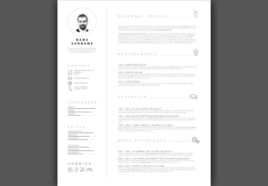 Gray and White Minimalist Resume Layout - image Adobe Stock - stock resume