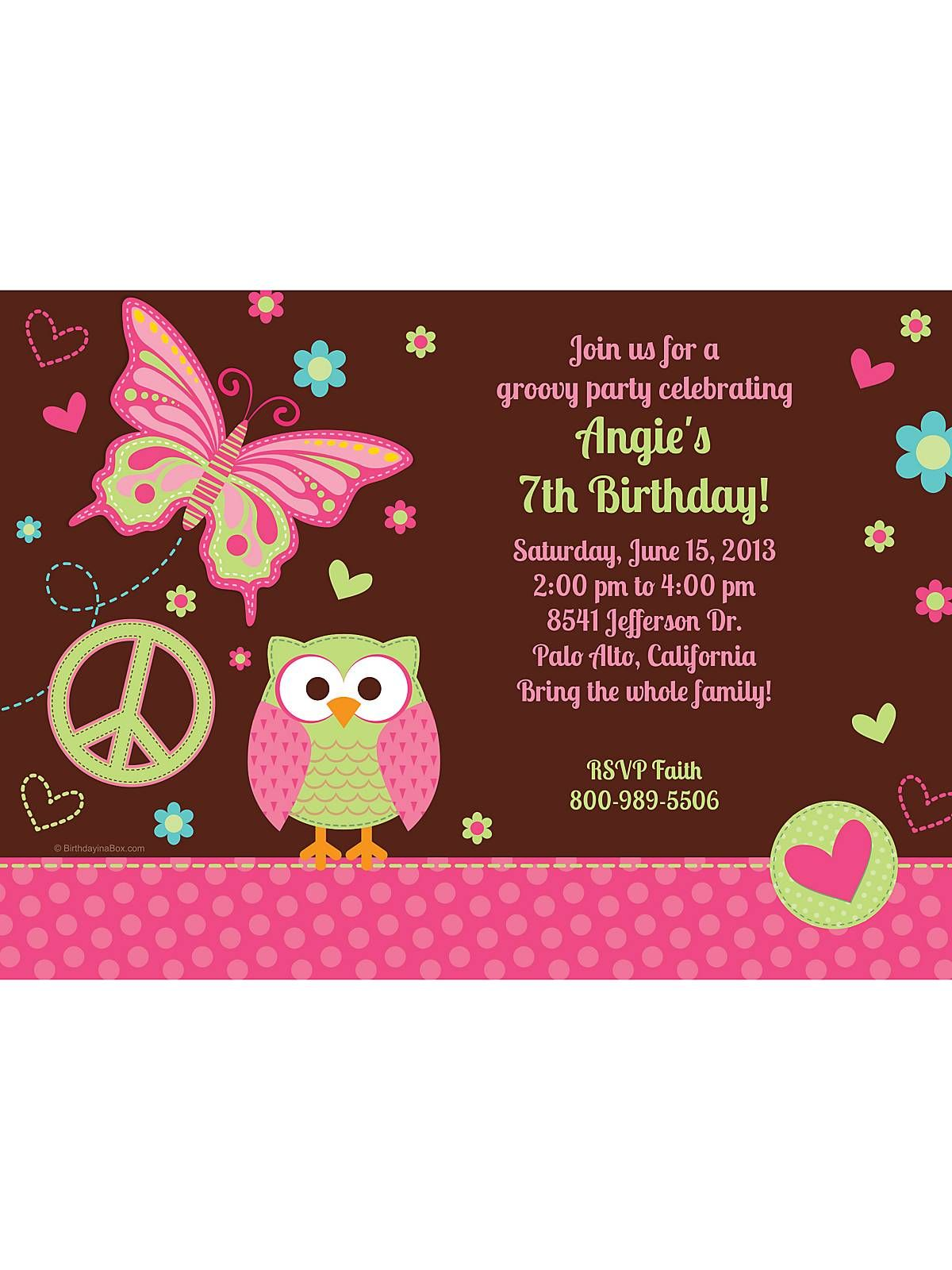 Hippie Chick Personalized Invitation (each) | Hippie chick and Girl ...