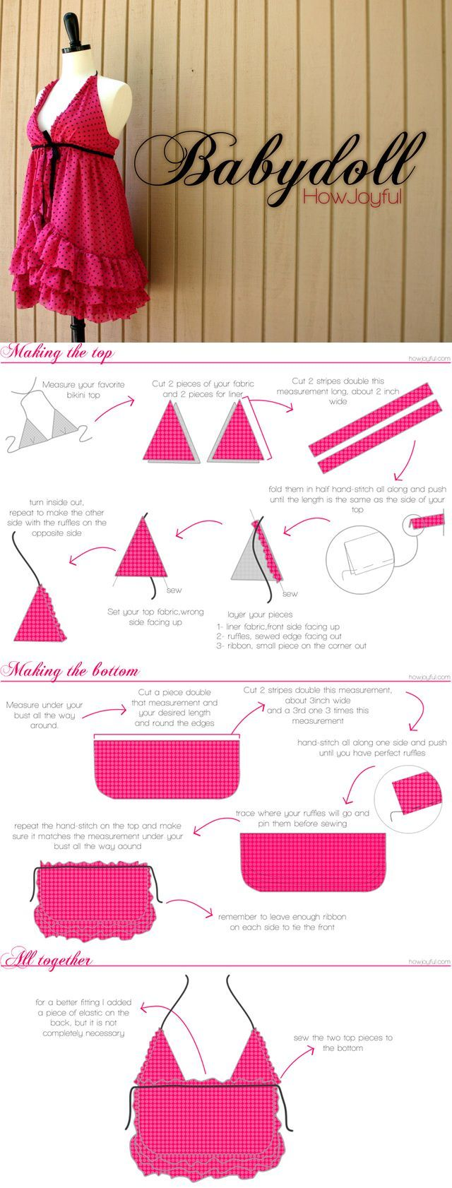 Easy tutorial for a baby doll nighty from How Joyful - intimates ...