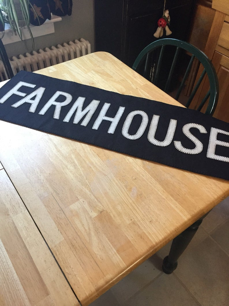 Farmhouse table runner measuring 12x36 inches Etsy in