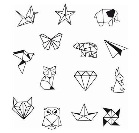 Item Description Geometric Animals And Shapes Temporary Tattoo Price Is Sheet Sheet Includes 14 Images Each Design Party Tattoos Diy Tattoo Origami Tattoo