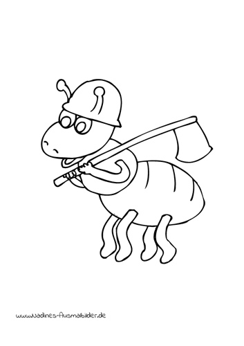 Ausmalbild Bauarbeiter Ameise mit Axt   Kinderfreizeit Ameisen ...