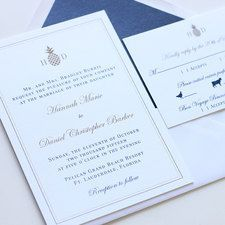Pineapple Monogram Wedding Invitation Affordable Thermography