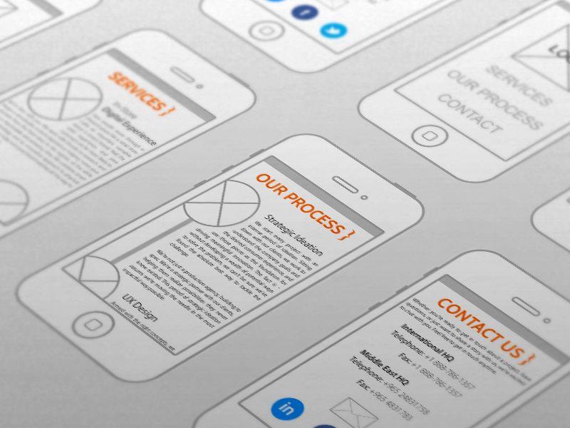 Mobile site wireframe by Alex Pricop