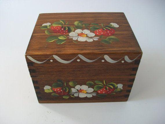 Decorative Recipe Box Vintage Painted Strawberry Wooden Recipe Box Cute Decorative