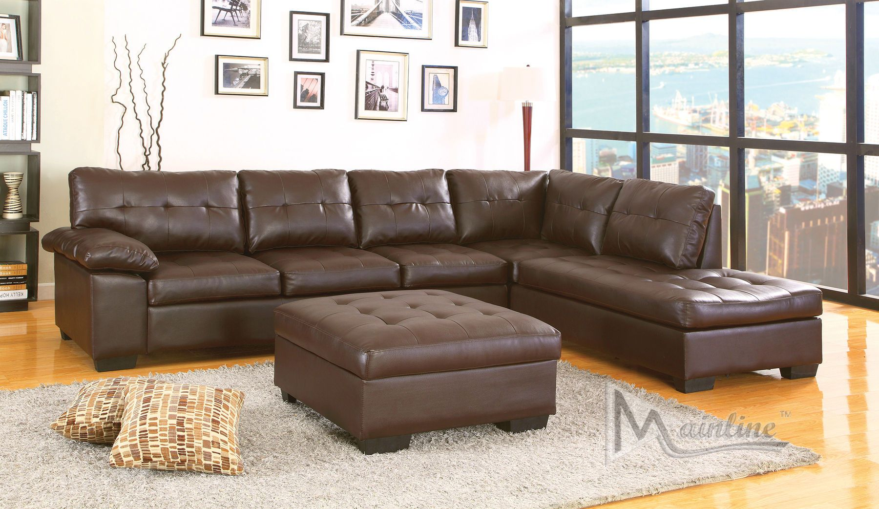 Dallas Chocolate Sectional Sofa