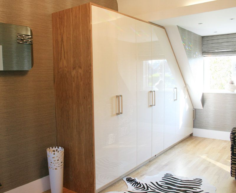 Bespoke Bedroom Wardrobes Oak Veneer And High Gloss Cream Available In Any Colour Bedroom Wardrobe Home Fitted Wardrobes