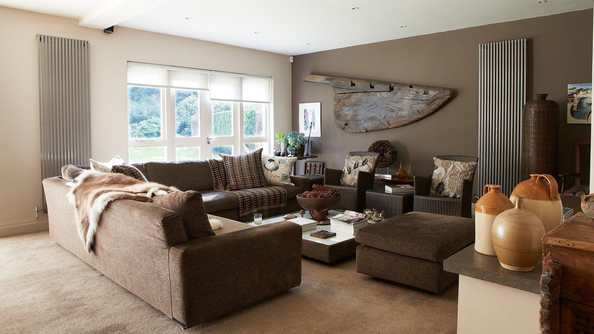 Modern Mushbroom Brown Living Room With Corner Sofa