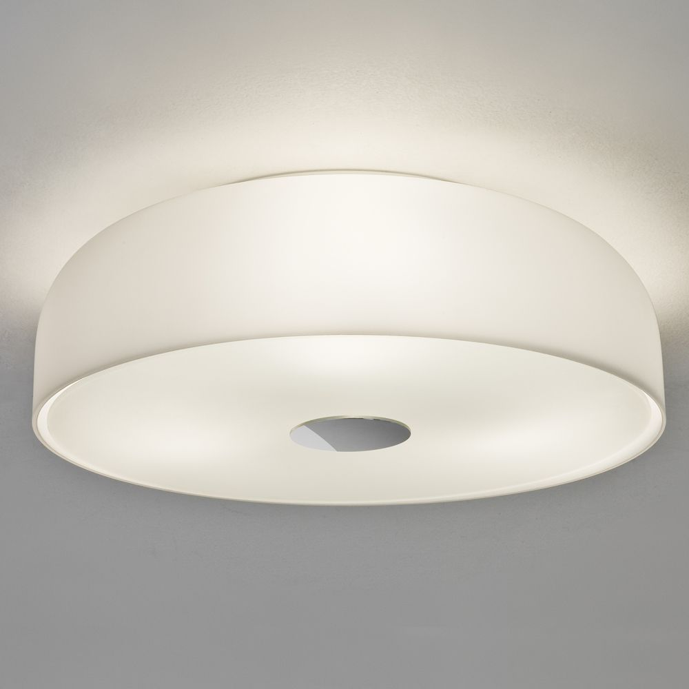 The Syros 350 Bathroom Ceiling Lights Has An Opal Glass Finish IP44 Rated For