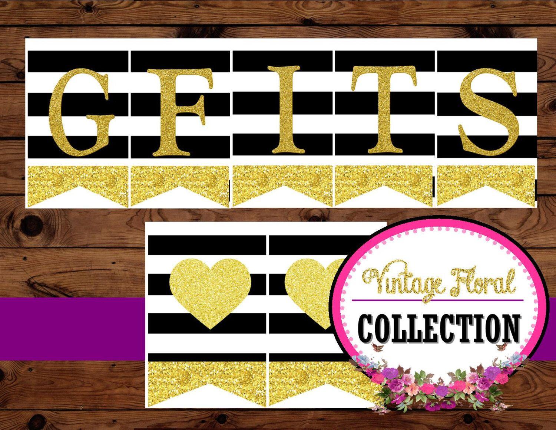 Gold Heart - BANNER - Black and White Stripe - Wedding Banner - Gifts Banner - Wedding- Glitter Heart -Party- Bridal Shower-INSTANT Download by KROWNKREATIONS on Etsy https://www.etsy.com/listing/221044040/gold-heart-banner-black-and-white-stripe