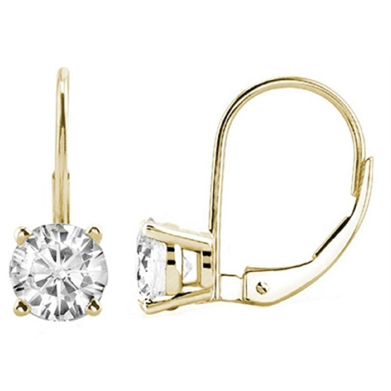 0 30 CTW Round White Diamond Leverback Earrings in 14K Yellow Gold
