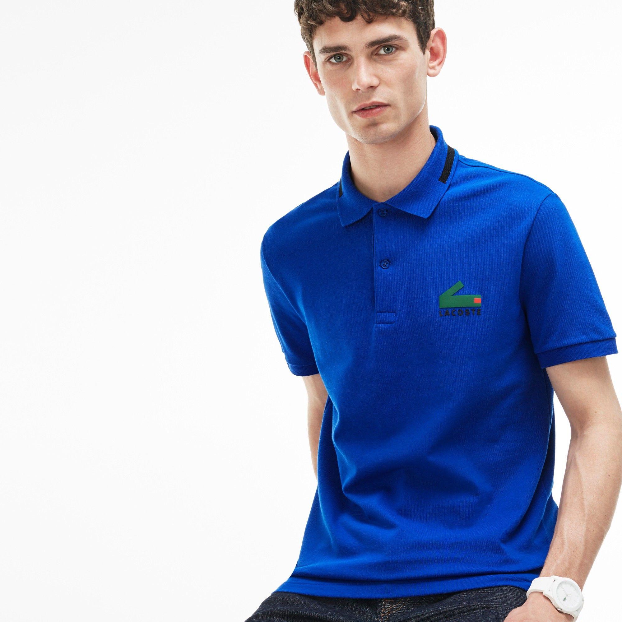 4ea577a3 LACOSTE Men's Lacoste Slim Fit Graphic Print Stretch Mini Piqué Polo ...