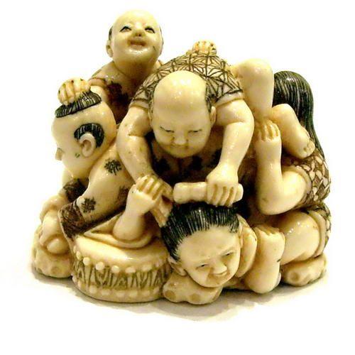 Mammoth Ivory Netsuke - Pile Of Children