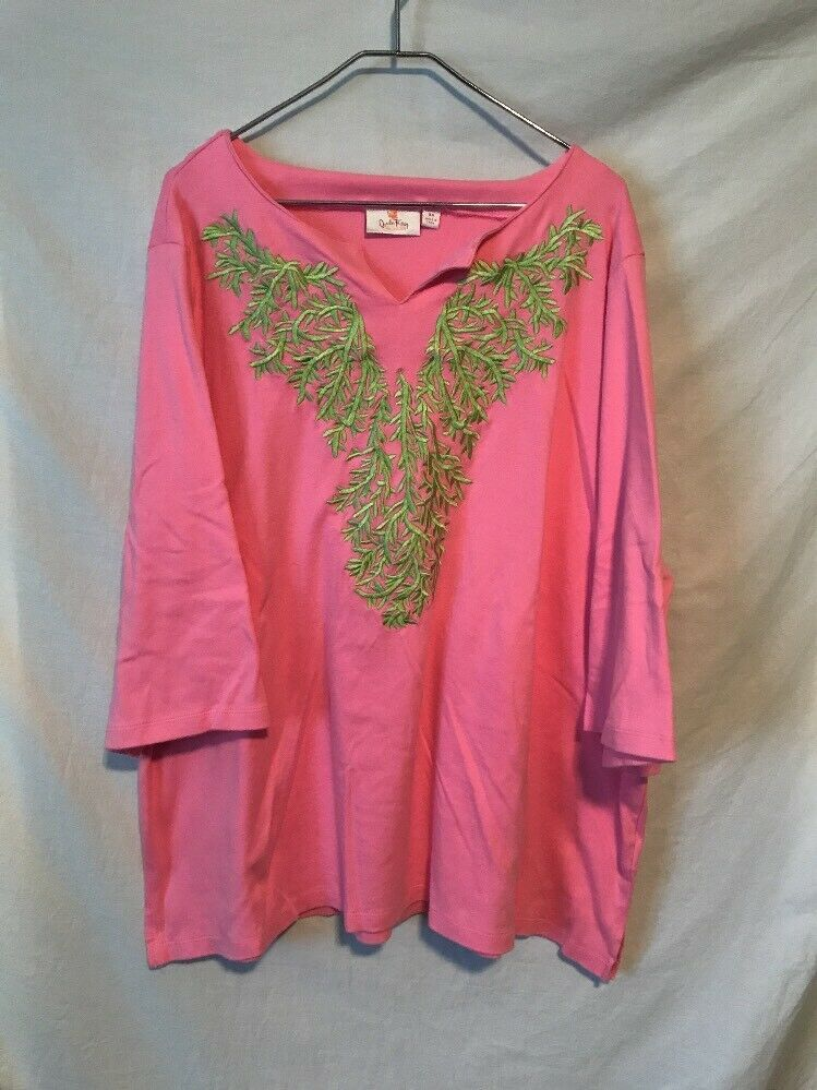 Quacker Factory 3X Pink Shirt Green Embroidered Front