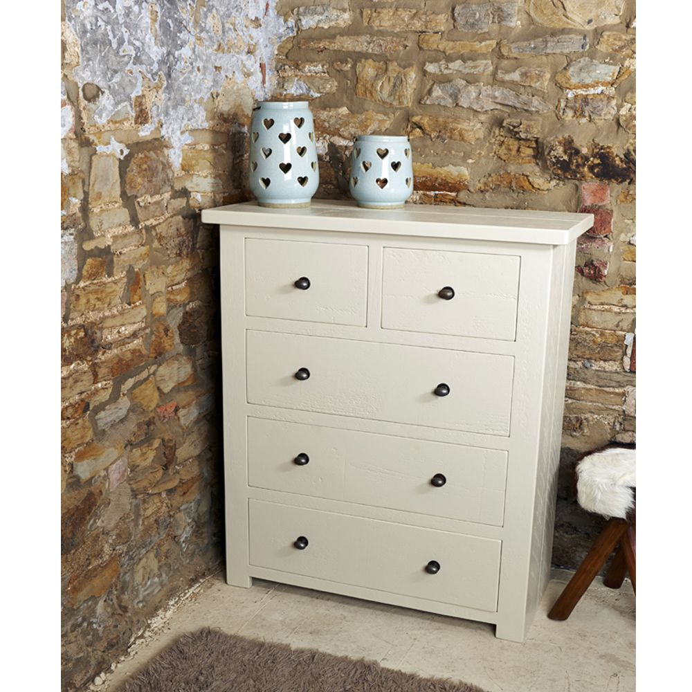 Rugged Wingfield 2 Over 3 Chest of Drawers, shown in \'off white ...