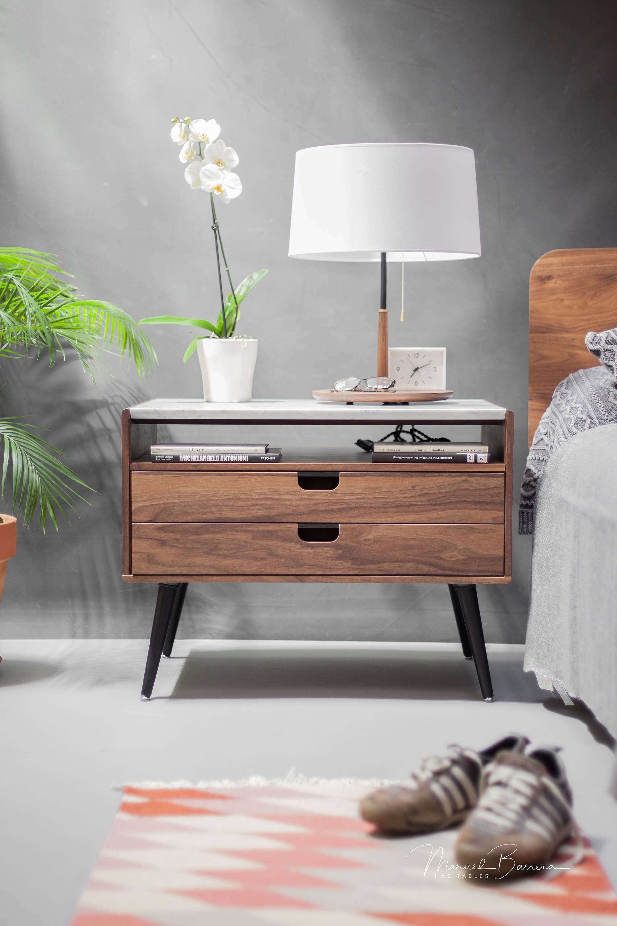 Nightstand With Two Drawers In Solid Walnut Oak Wood Board And On Top Carrara Marble By Habitables On Etsy Furniture Furniture Design Room Decor