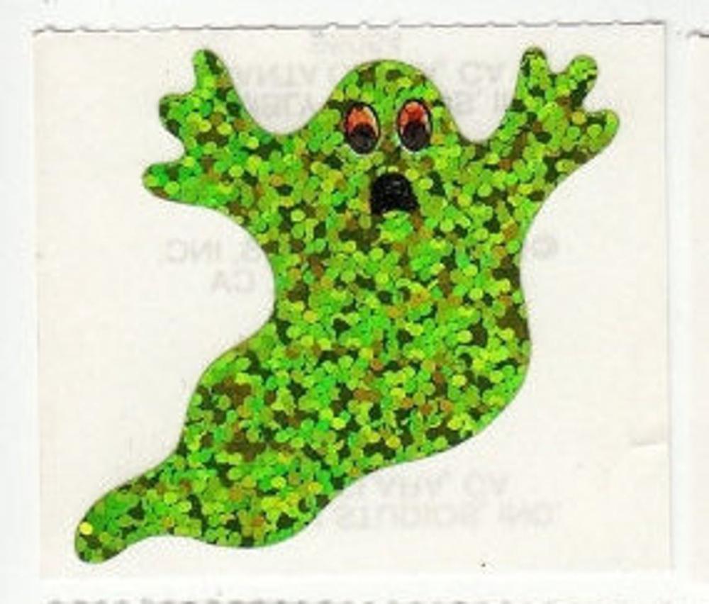 Sandylion Vtg Glittery Spooky Haunted House HALLOWEEN Stickers 1 Strip BNIP