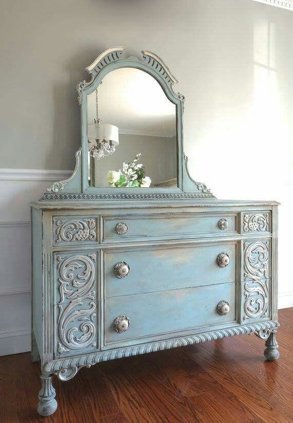 Omg...my Bedroom Set Silver And Sage Green!! Repainted