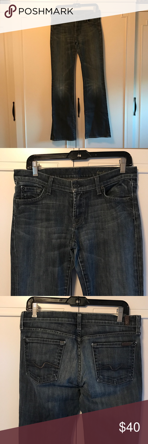 """7 for all mankind jeans 7 for all mankind boot cut jeans. Color is more of a greyish blue. Tiny little distress mark on right knee. Size 29, 33 1/2"""" inseam, 8"""" rise 7 For All Mankind Jeans Boot Cut"""