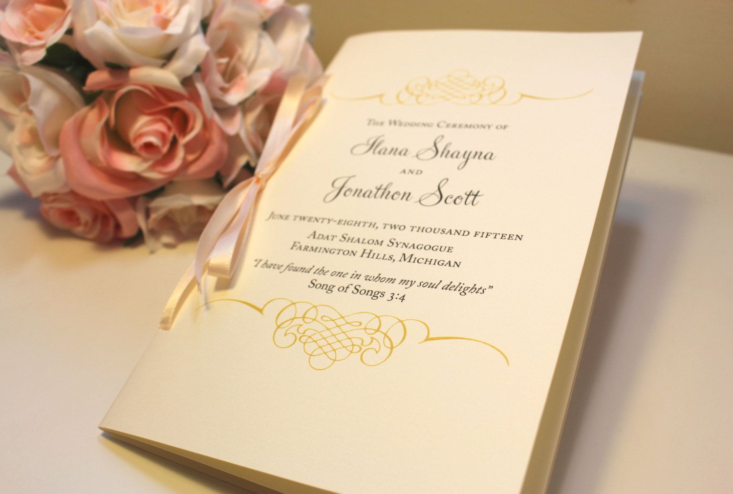 Jewish Wedding Program Wedding Program Booklets Blush And Gold