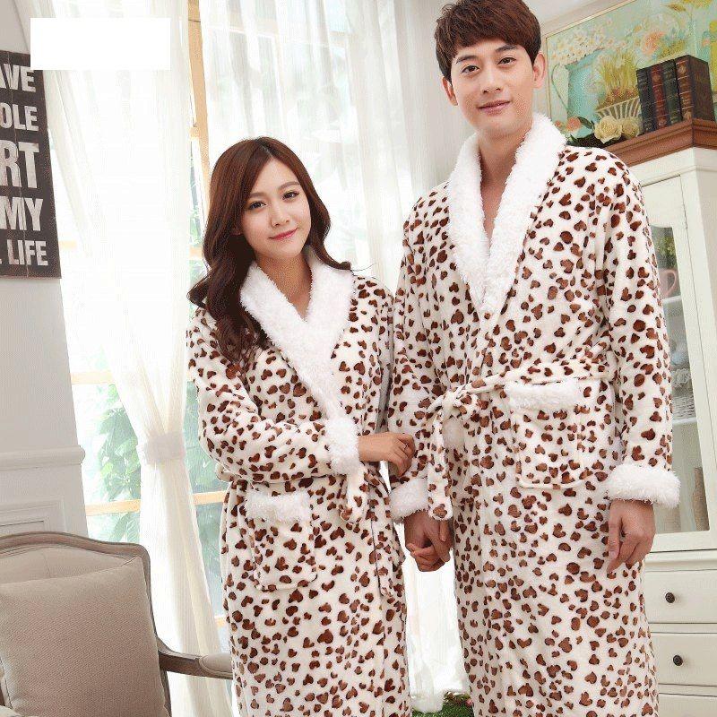 52711018f7 Lovers Bathrobes Couple Sleepwear Leopard Warm Nightwear Cows Female  Flannel Nightgown Women Long Sleeve Kimono Man