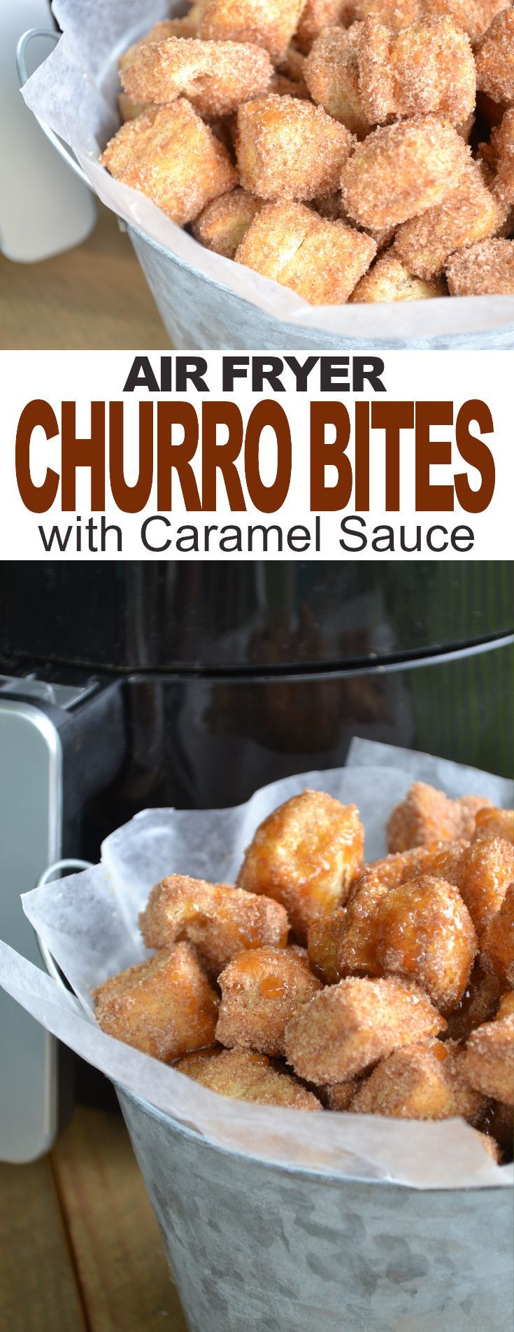 Air Fryer Cinnamon Bites with Caramel Sauce