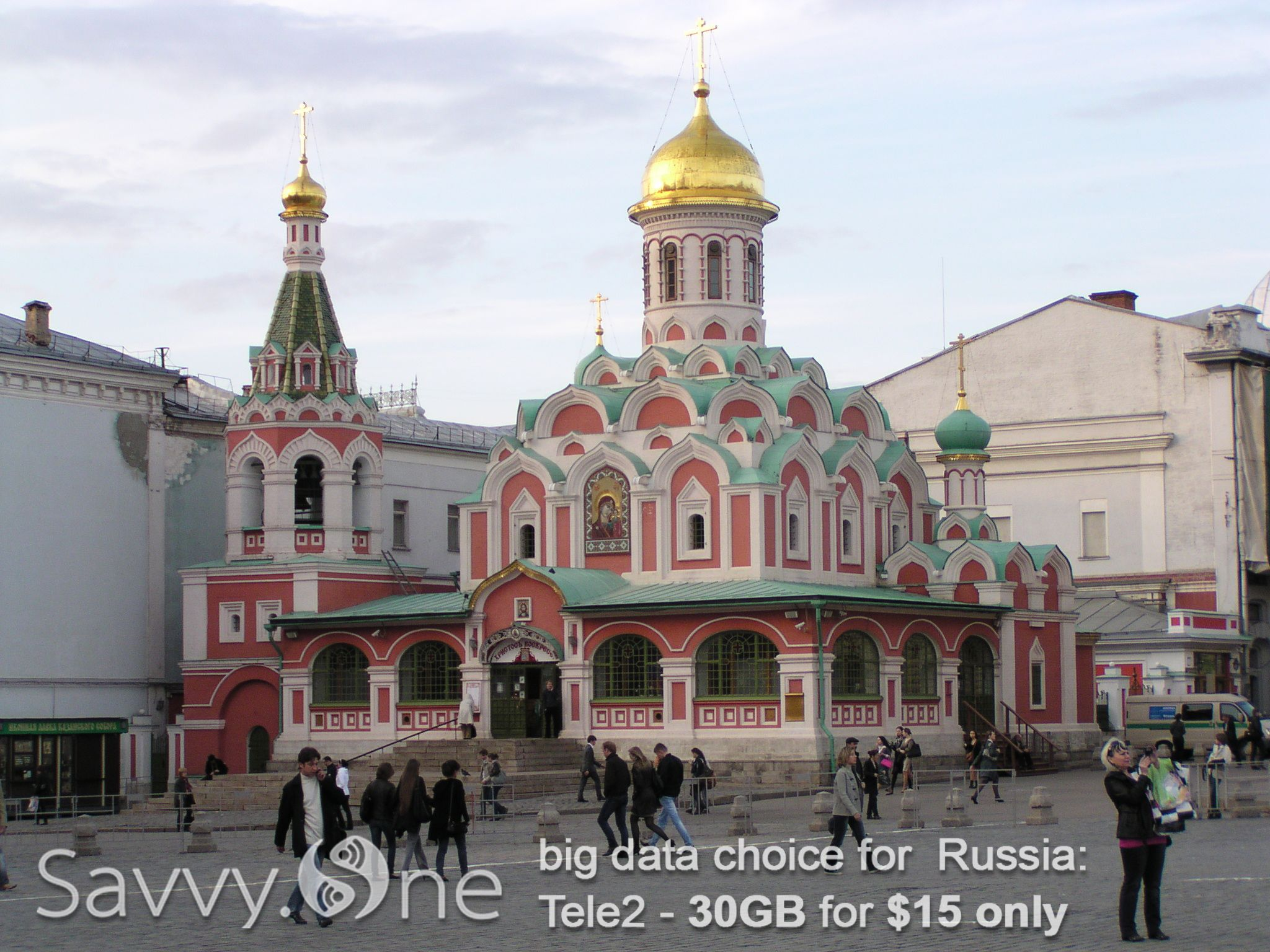 Kazan Cathedral on Red Square in Moscow, Russia. SavvyOneBot helps you stay connected with cheap internet wherever you go.