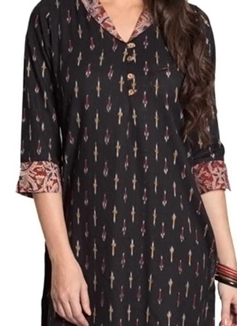 Black blended cotton kurti woman clothing pinterest kurti