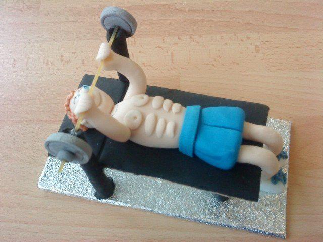 Surprising Muscle Man Edible Model Weight Lifter Handmade Bespoke Icing Personalised Birthday Cards Xaembasilily Jamesorg