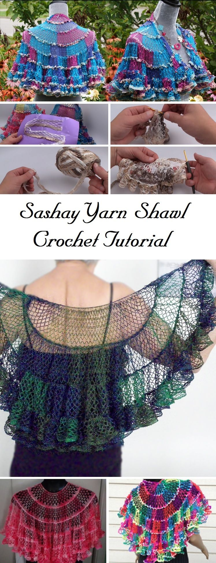 Crochet Beautiful Shawl (Sashay Yarn | Ganchillo, Chal y Motivo de ...