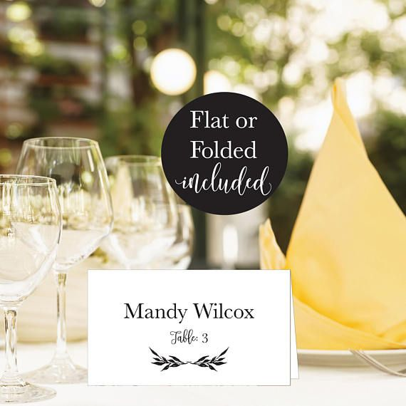 Elegant Wedding Place Card Template Rustic Folded And Flat Place