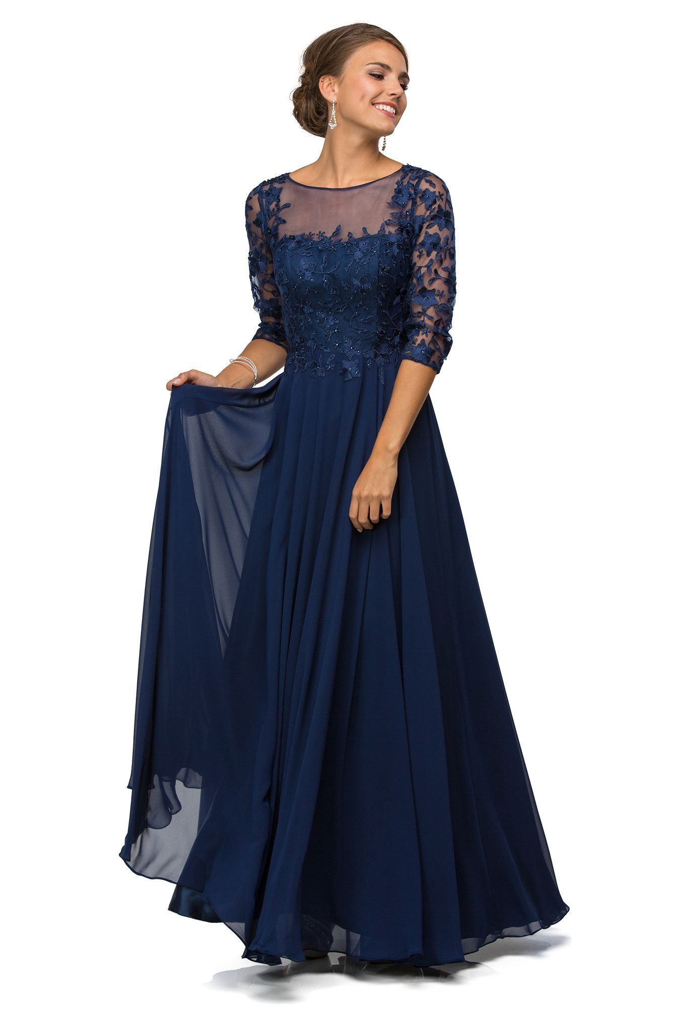 Simple Mother of the Bride Long Dresses Modest Navy Chiffon Plus ...