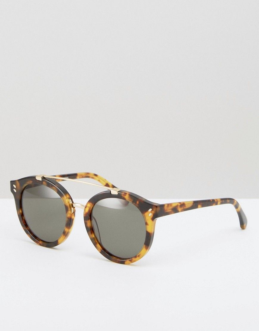 bca4d7724c Stella McCartney Round Sunglasses with Metal Brow Bar - Brown