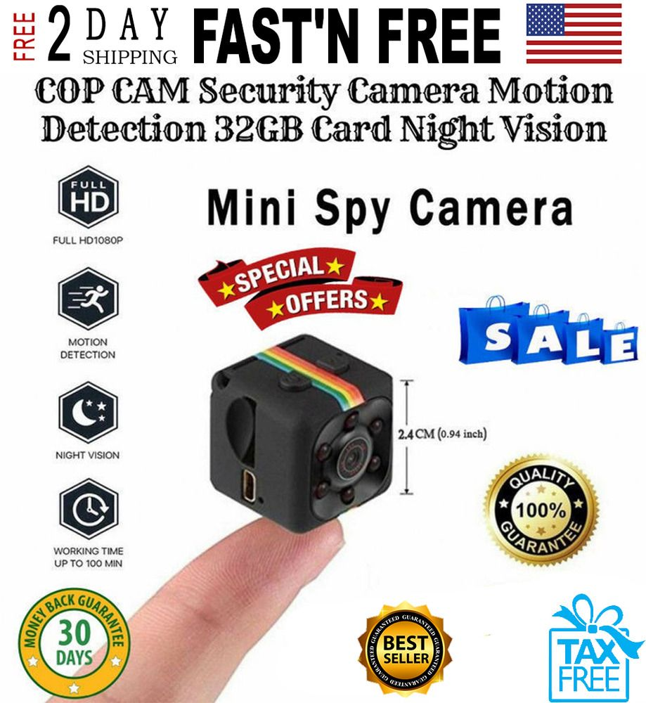 COP CAM Security Camera Motion Card Night Vision Recorder Detection 32G BEST !