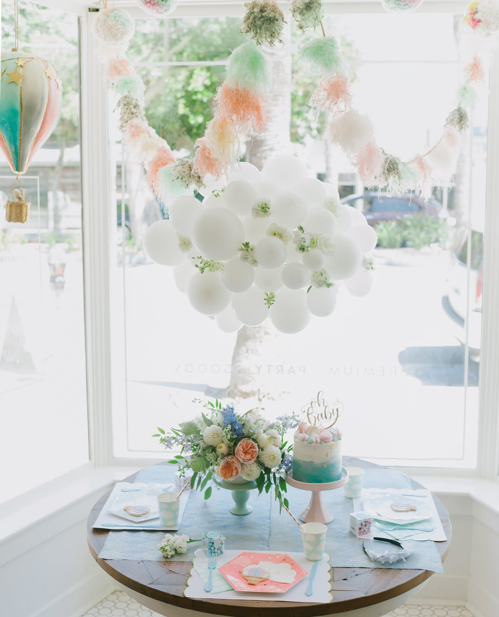 Project Nursery   Hot Air Balloon Baby Shower Tablescape And Cloud Balloon    Project Nursery
