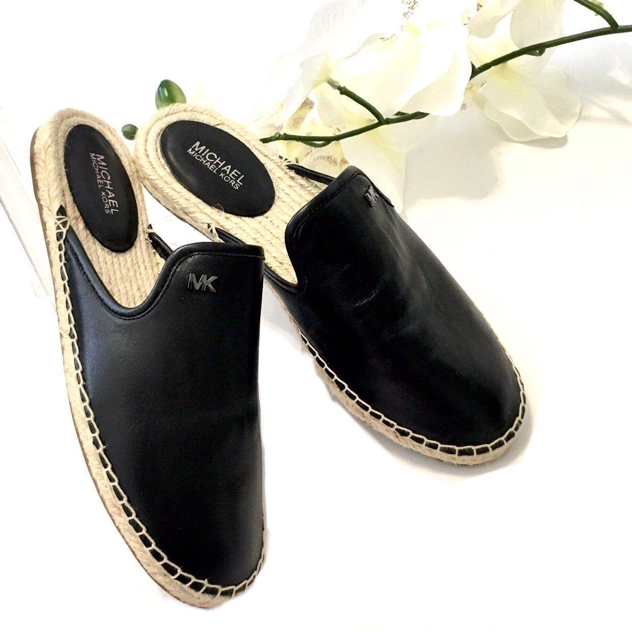 Michael Kors Black Leather Espadrille