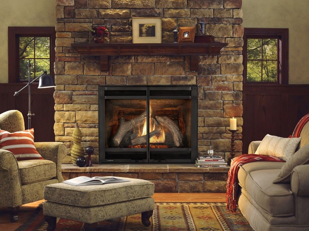 Comfortable Living Room With Natural Stone Gas Fireplace Ideas And Elegant Armchair Gray Sofa