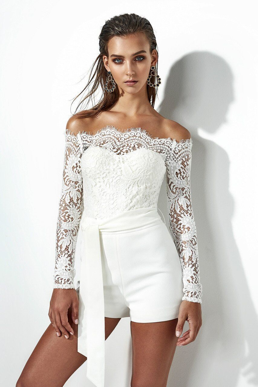 4811bcd52062 white lace off the shoulder Romper boho white lace romper long sleeve  strapless romper pants outfit  jumpsuit  jumpsuitsforwomen   jumpsuitsrompers   ...