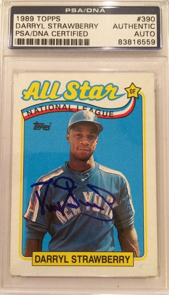1989 Topps A S Signed Darryl Strawberry Auto Psa Dna Encapsulated Mets Yankees From 34 84 Darryl Strawberry Baseball Cards Mets