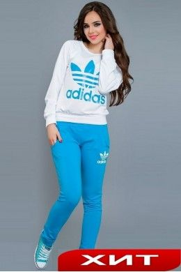 4998cf0d Женский спортивный костюм Adidas белый с голубым 5000395 ...