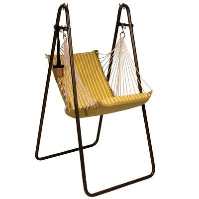 Algoma Net Company Sunbrella And Polyester Chair Hammock With Stand Wayfair In 2020 Hanging Chair With Stand Hammock Chair Hanging Chair