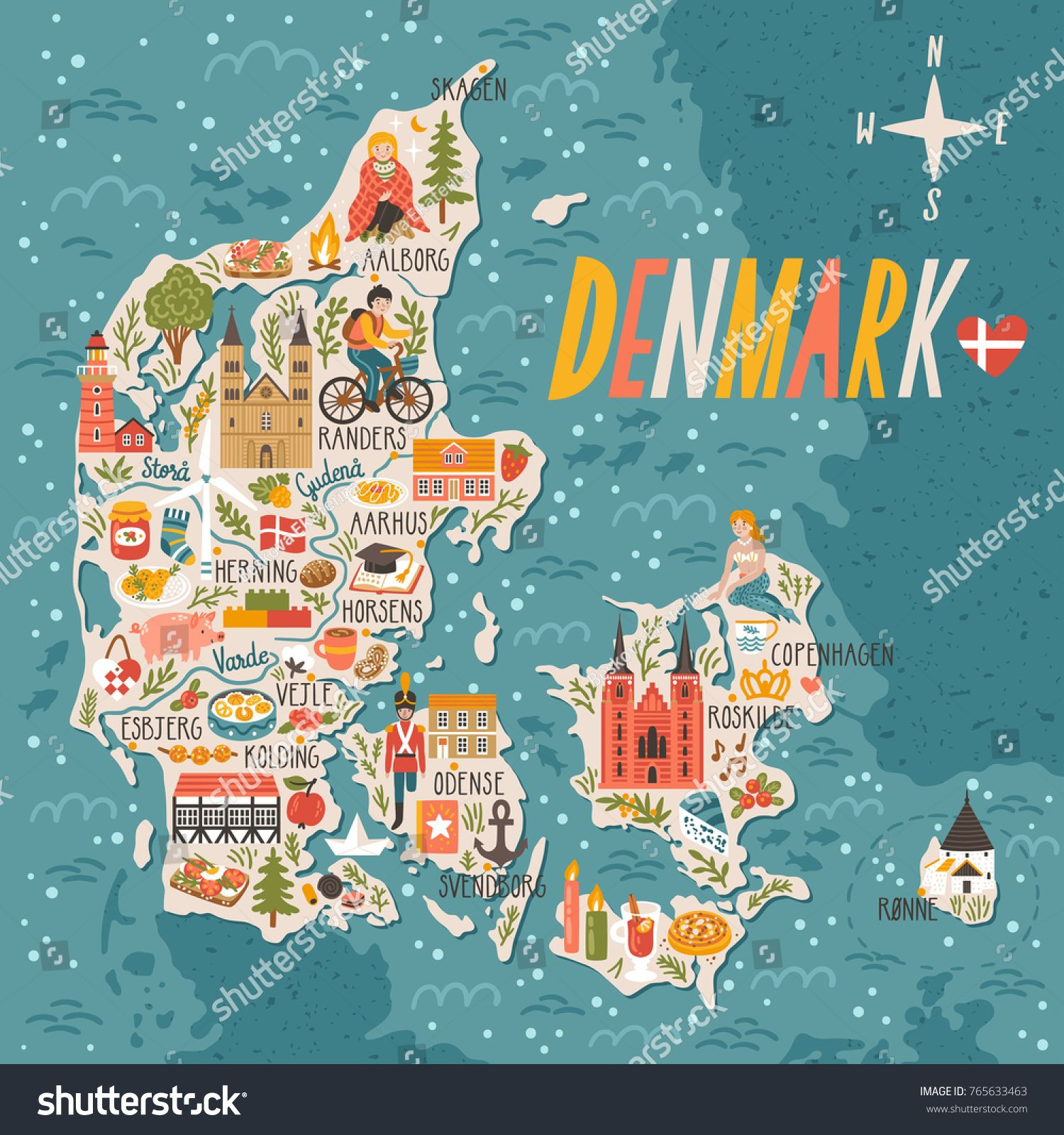 Vector stylized map of Denmark Travel illustration with danish