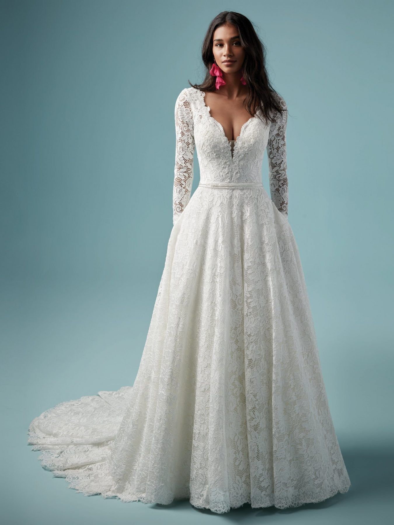 Lace V Neckline Long Sleeve Ball Gown Wedding Dress Long Sleeve