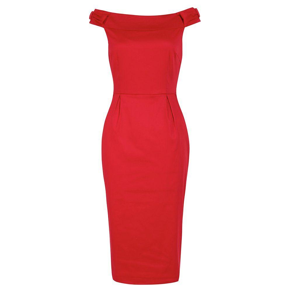 Tabby Red Off Shoulder Wiggle Dress | Vintage Style Dress - Lindy ...
