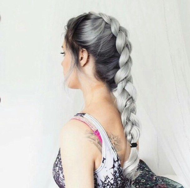 Pin By Color Joy On Beautiful Gray 50 White Ombre Hair Braided Hairstyles Silver Hair Dye