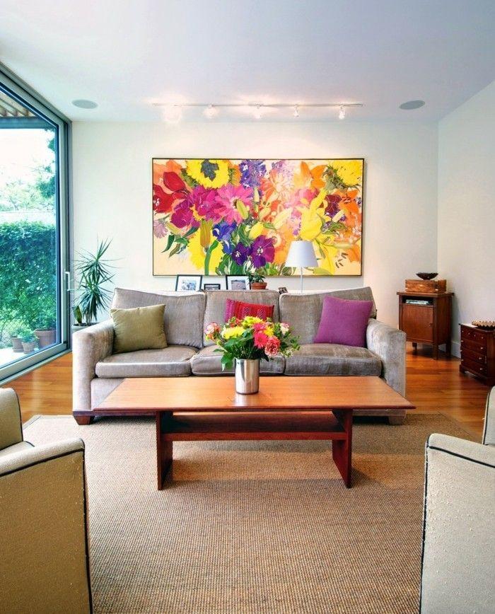 awesome wohnideen wohnzimmer farbiges wandbild mit blumen Check more