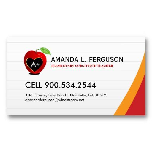 Teacher Educator Business Card Zazzle Com Teacher Business Cards Colorful Business Card Elementary Substitute Teacher